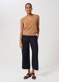 Nicole Linen Wide Leg trousers, Navy, hi-res