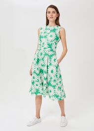 Twitchill Linen Fit And Flare Dress, Green White, hi-res