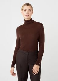 Lara Merino Wool Roll Neck, Chocolate, hi-res