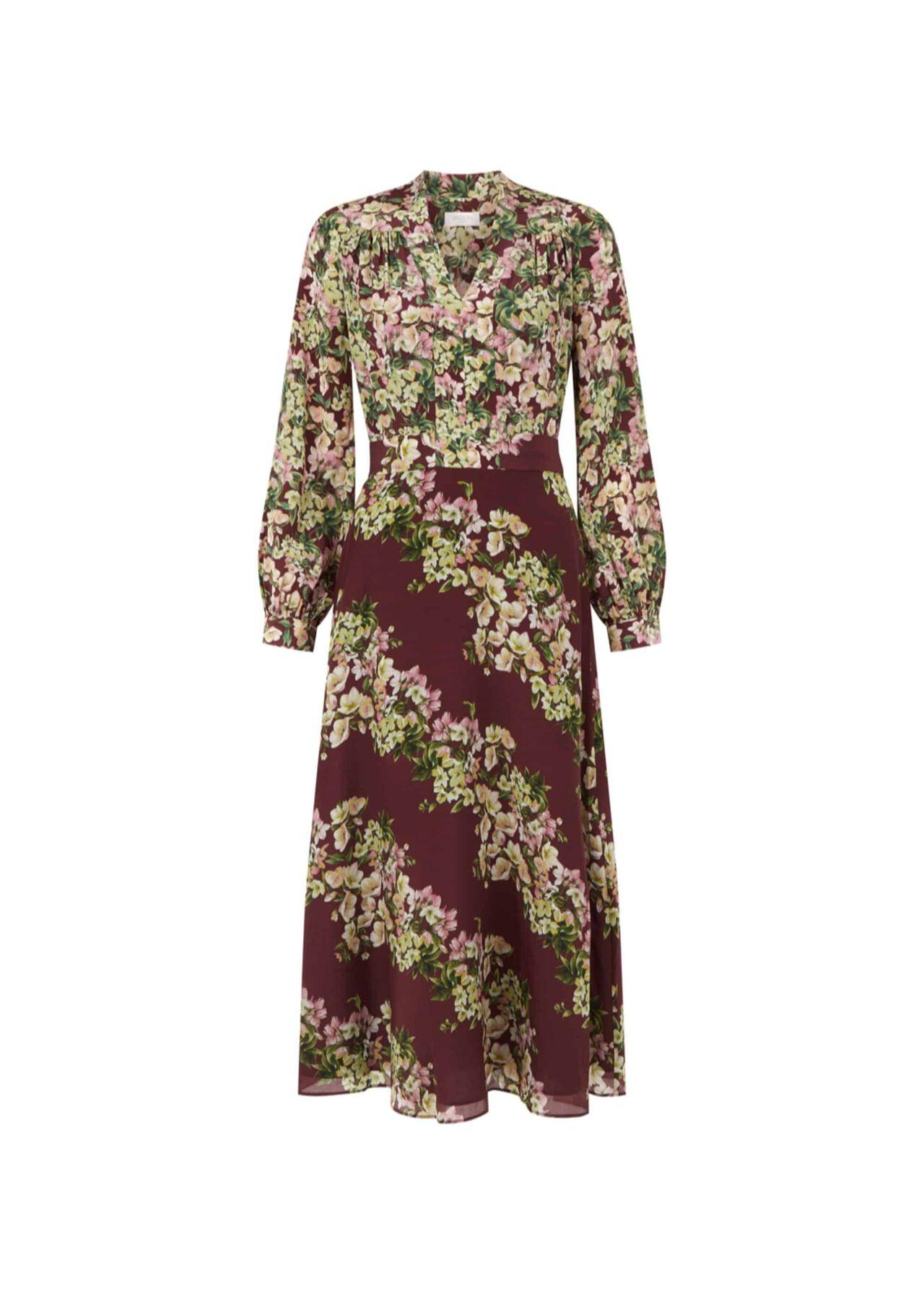Silk Botanic Dress Mulberry Multi