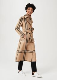 Faye Wool Blend Wrap Coat, Camel Black, hi-res
