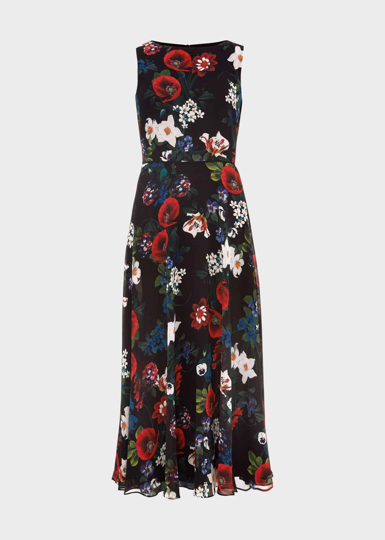 Carly Floral Midi Dress Black Multi