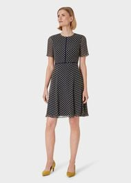 Cecily Jacquard Dress, Midnight Yellow, hi-res