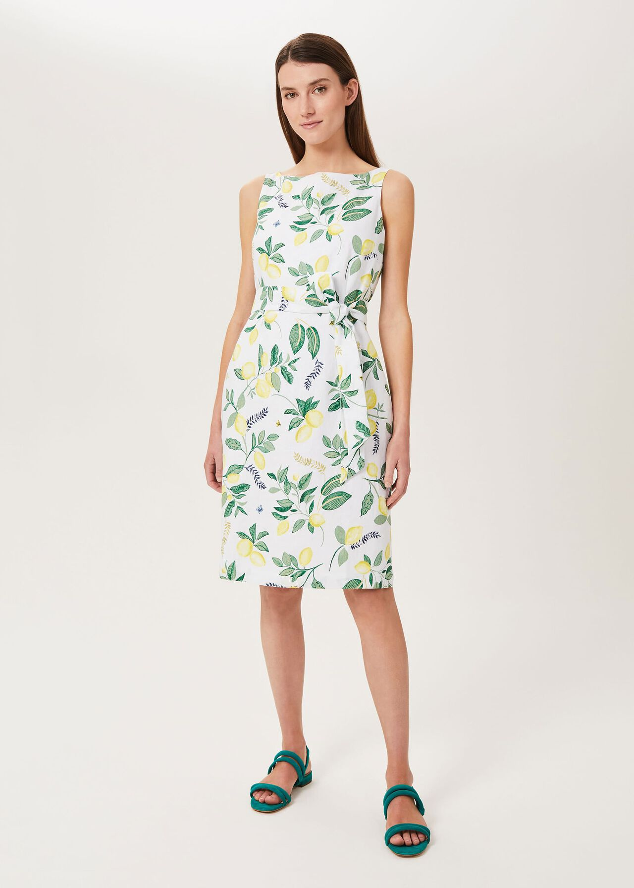 Jaci Linen Dress, White Multi, hi-res