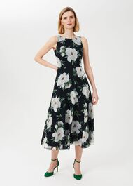 Petite Carly Floral Dress, Navy Ivory, hi-res