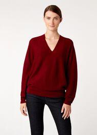 Emma Seamless Merino Wool Blend Sweater, Burgundy, hi-res