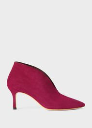 Sienna Suede Stiletto Ankle Boots, Raspberry, hi-res