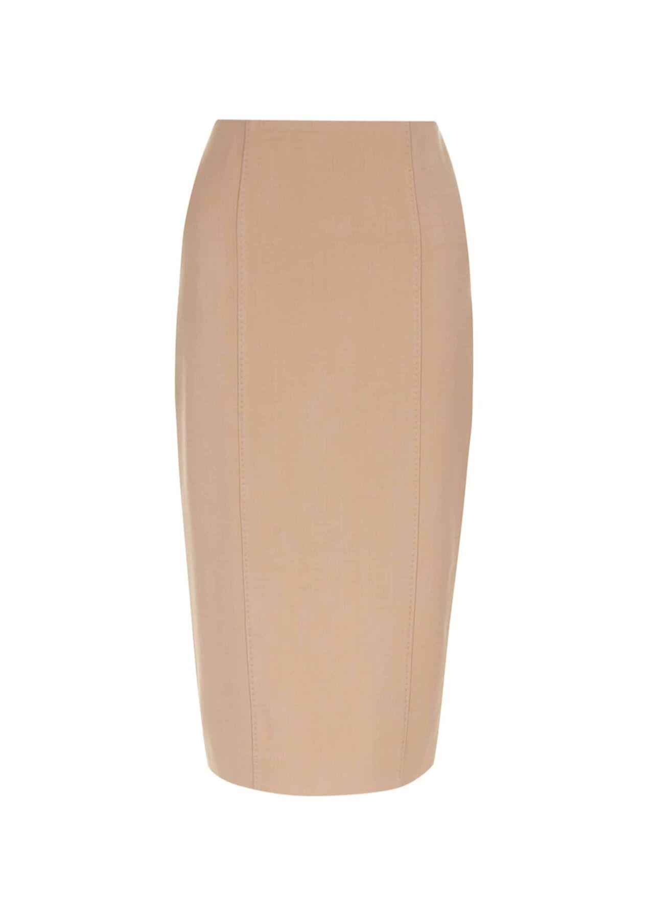 Beatrice Wool Blend Skirt Camel