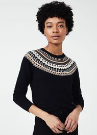 Greta Fairisle Sweater With Cashmere, Navy Multi, hi-res
