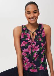 Darcey Floral Top, Navy Multi, hi-res
