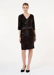 Salma Sequin Pencil Skirt, Black, hi-res