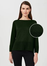 Logan Sparkle Jumper, Dark Green, hi-res