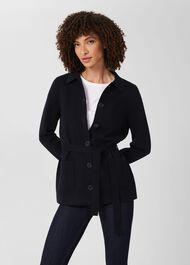 Paloma Knit Jacket, Navy, hi-res