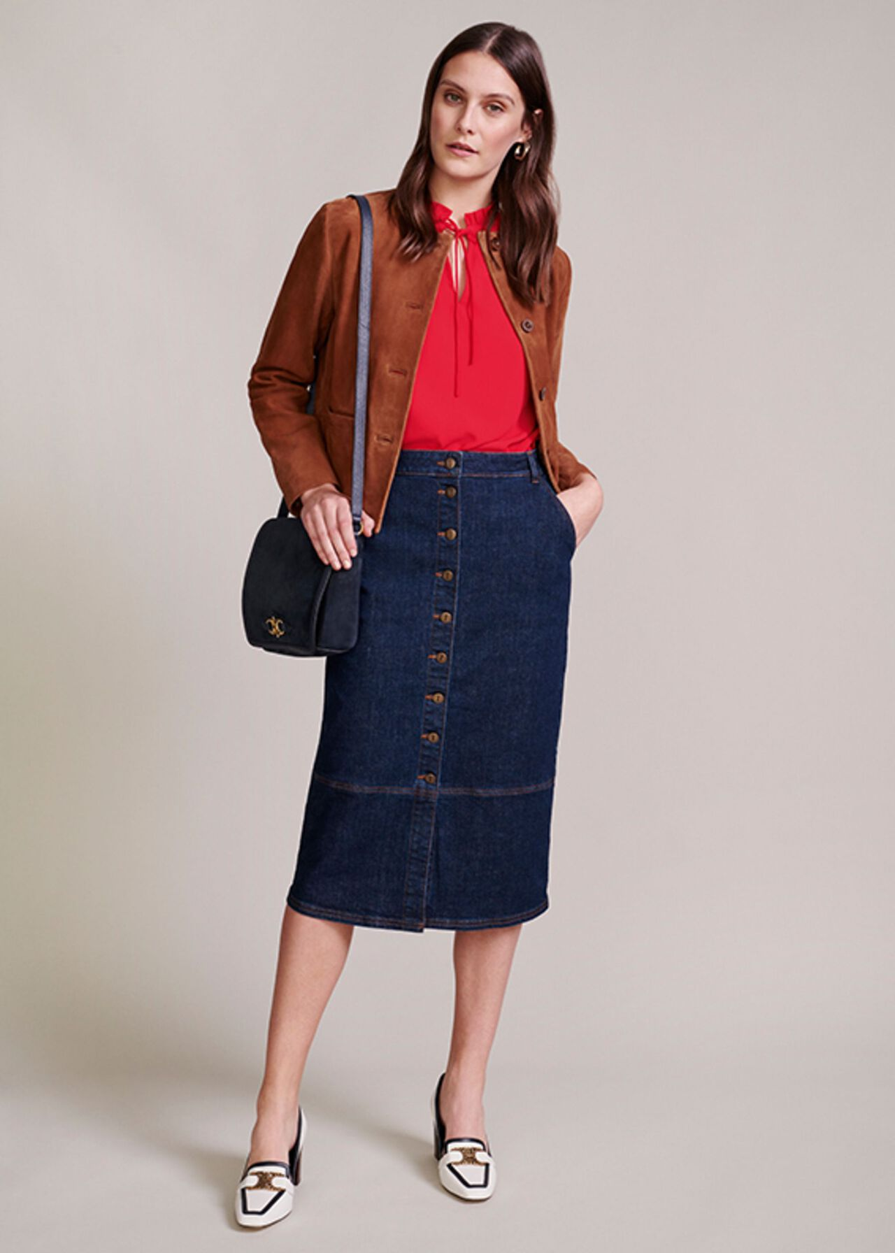 The Macey Denim Skirt Outfit, , hi-res