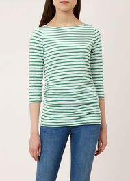 Rebecca Ruched Top, Green White, hi-res