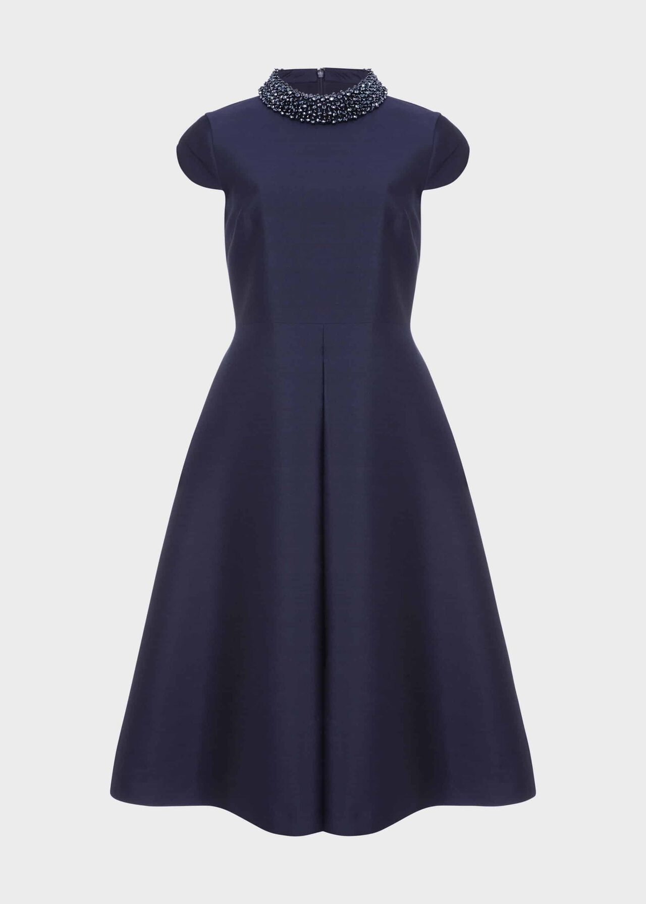 Christie Silk Wool Beaded Dress Navy