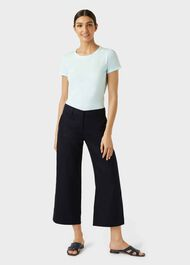 Nicole Linen Wide Leg trousers, Navy, hi-res