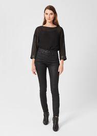 Gia Coated Jeans, Black, hi-res