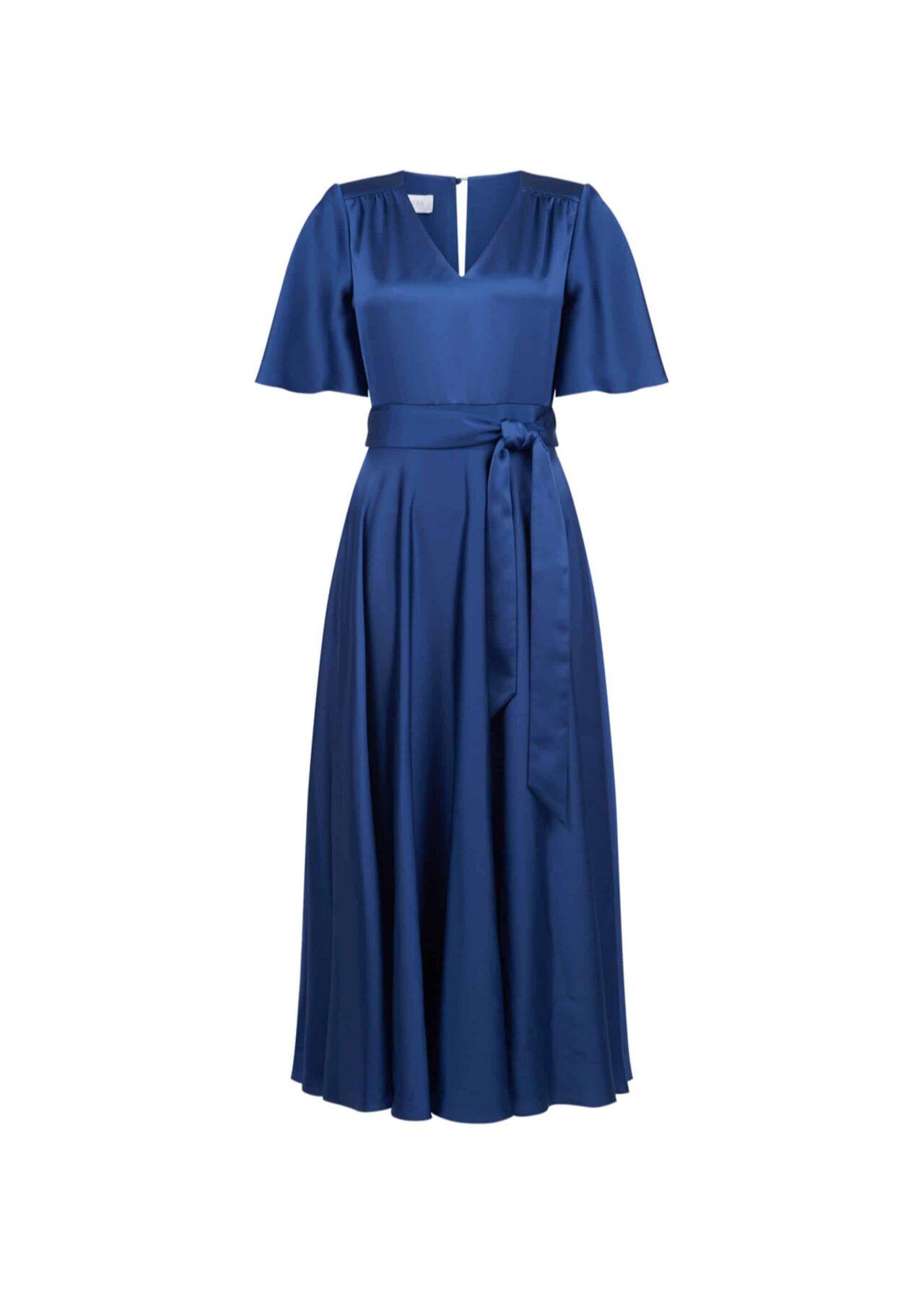 Angelina Satin Dress Regal Blue