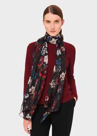 Aura Silk Floral Scarf, Black Multi, hi-res
