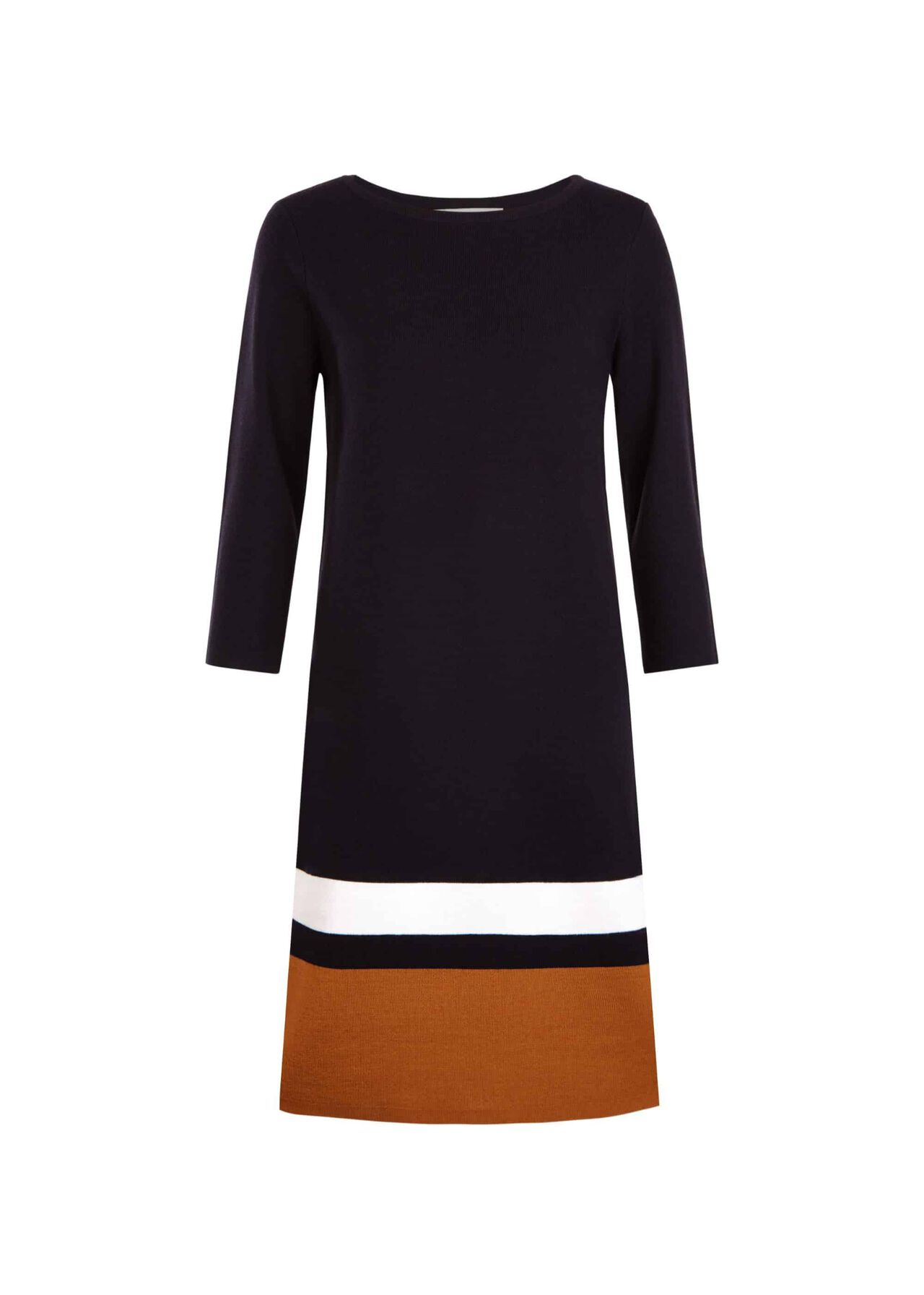 Amy Merino Wool Blend Dress Navy Ochre