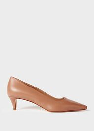Millie Leather Kitten Heel  Court Shoes, Toasted Almond, hi-res