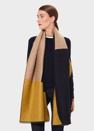 Everly Scarf, Navy Chartreuse, hi-res