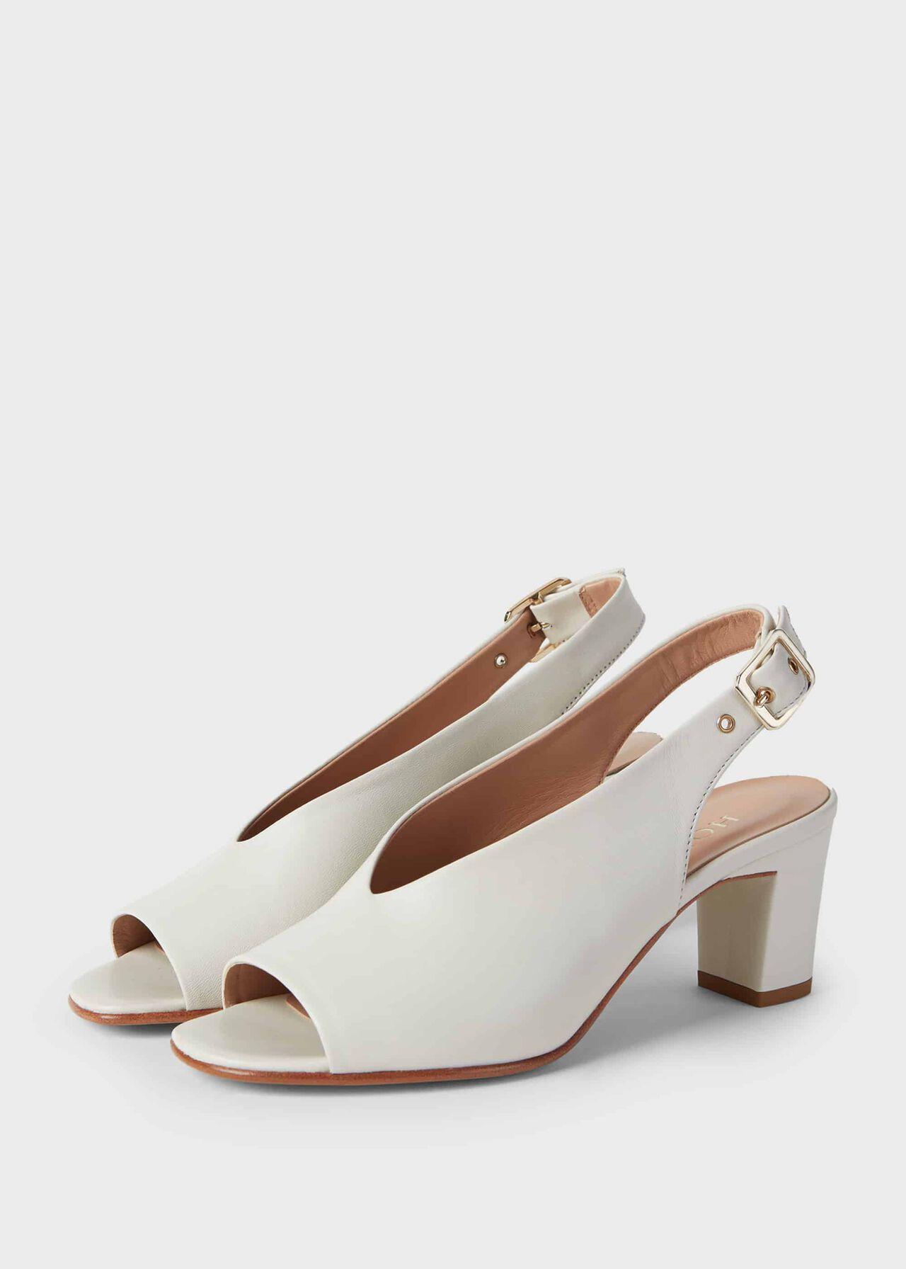 Kali Leather Block Heel Sandals Ice White