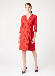 Delilah Wrap Dress, Red Multi, hi-res