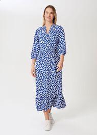 Magda Spot Shirt Dress, Cobalt White, hi-res