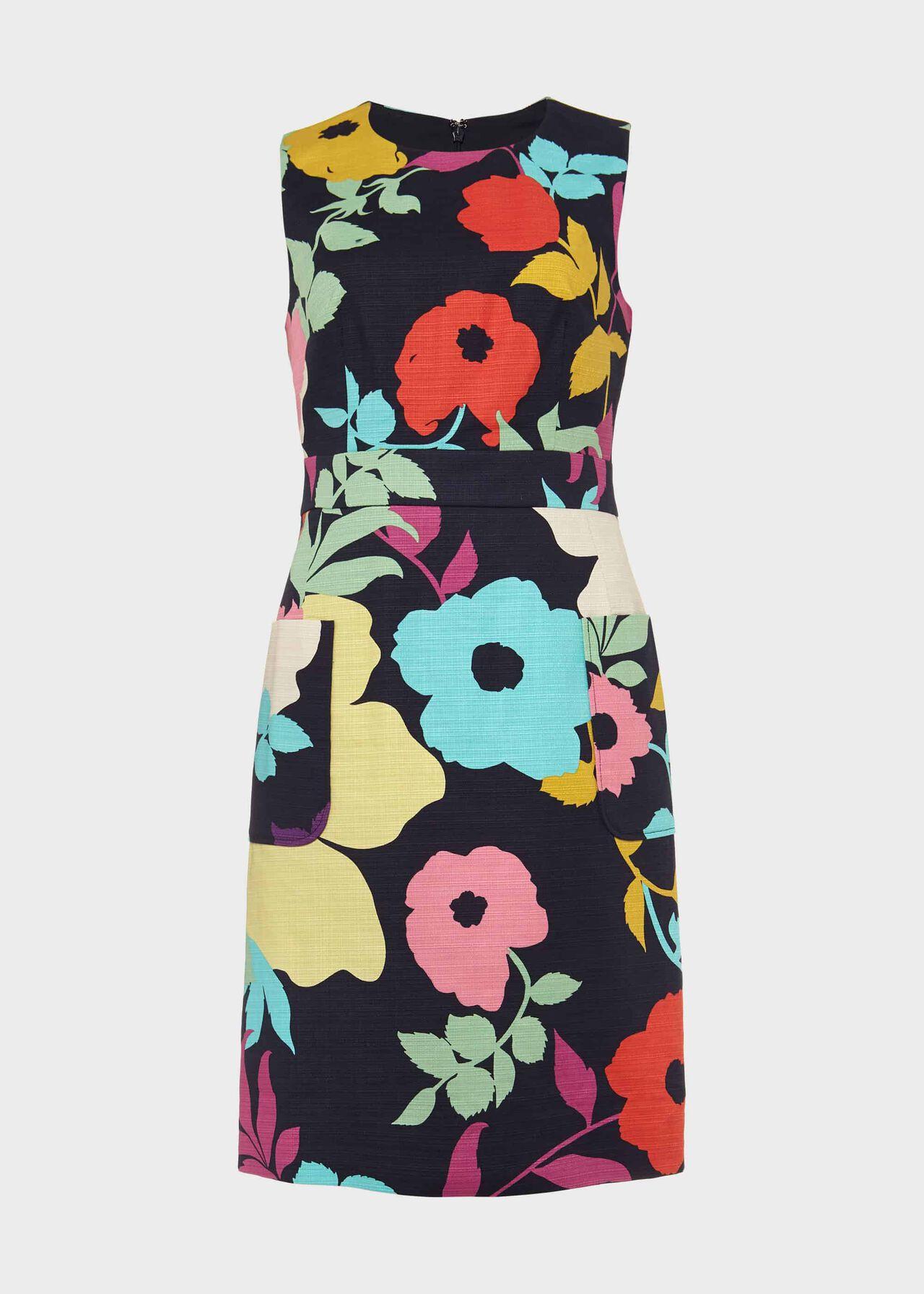 Allison Cotton Blend Floral Shift Dress Navy Multi