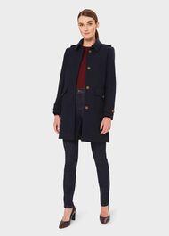 Phoebe Wool Blend Coat, Navy, hi-res