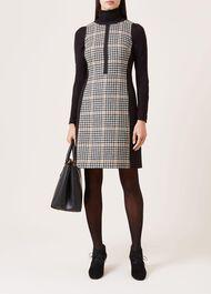 Joy Check Wool Dress, Camel Black, hi-res