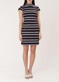 Aleah Stripe Dress, Navy White, hi-res