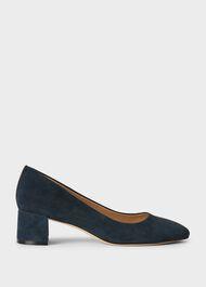 Abbey Suede Block Heel Court Shoes, Navy, hi-res