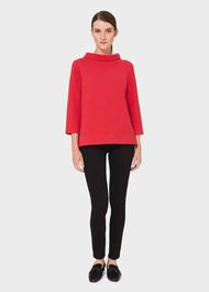 Betsy Textured Top With Cotton , Scarlet Red, hi-res