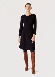 Cora Knitted Dress, Navy, hi-res