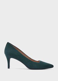 Amy Suede Stiletto Court Shoes, Bottle Green, hi-res