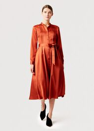 Thandi Satin Shirt Dress, Copper, hi-res