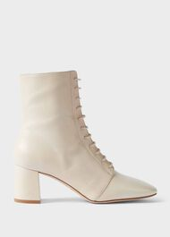 Imogen Leather Block Heel Lace Up Ankle Boots, Birch, hi-res