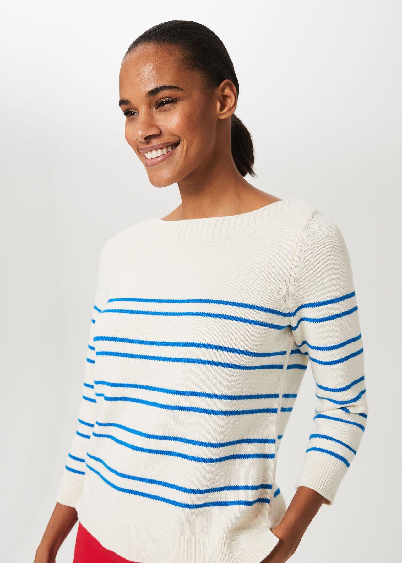 June Cotton Sweater, Ivory Riv Blue, hi-res