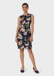Linen Amalfi Dress, Navy Multi, hi-res