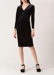 Emilia Velvet Dress, Black, hi-res