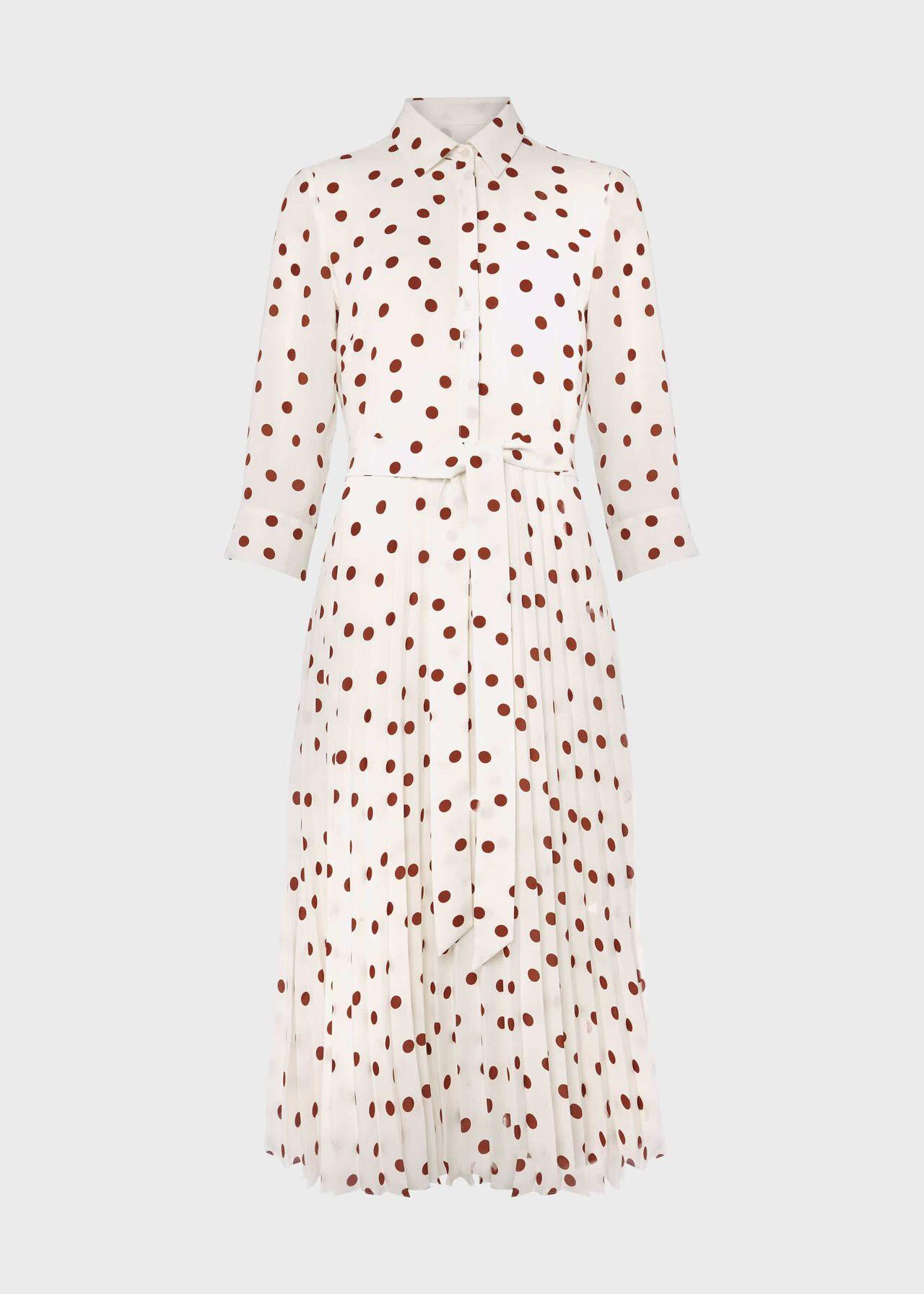 Leona Spot Midi Dress Ivory Pecan