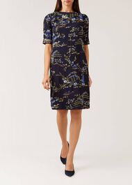 Pagoda Dress, Navy Multi, hi-res