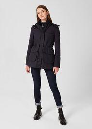 Dannie Waxed Cotton Coat, Navy, hi-res