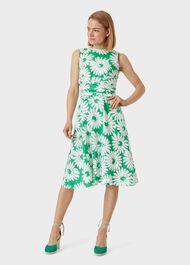 Linen Twitchill Dress, Green White, hi-res