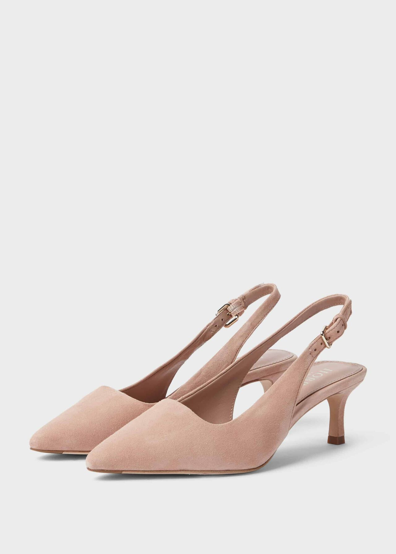 Kiera Suede Kitten Heel Slingbacks Court Shoes Fawn Pink