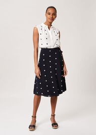 Iona Spot Wrap Skirt, Navy Ivory, hi-res