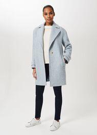Petite Carmen Herringbone Coat With Wool, Blue Ivory, hi-res